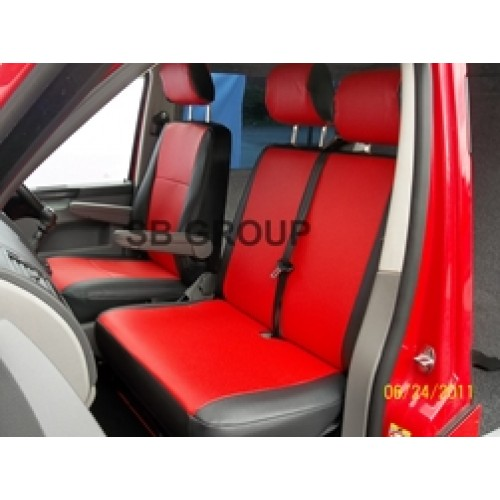 VW Transporter T5 Van Seat Covers Red Leatherette Made To Measure